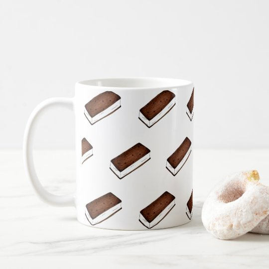 Chocolate Vanilla Ice Cream Sandwich Junk Food Coffee Mug