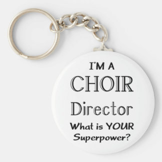 Choir director basic round button key ring
