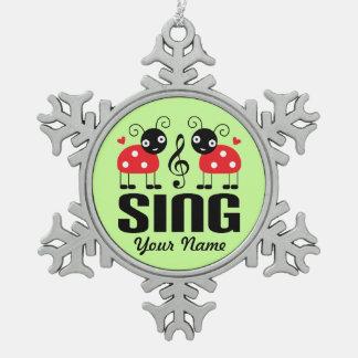 Choir Music Ladybug Snowflake Pewter Christmas Ornament