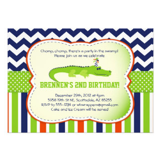 Chomp Chomp Alligator-Themed Party Invitations