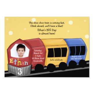 Choo Choo Express - Photo Birthday Party  Invitati 13 Cm X 18 Cm Invitation Card