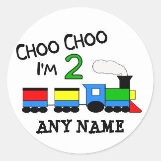 Choo Choo I'm 2!  With TRAIN Round Sticker