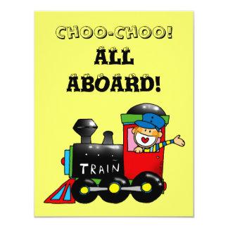 choo choo train 1st birthday party card
