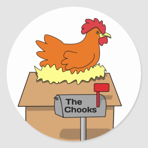 Chook House Funny Chicken on House Cartoon Stickers