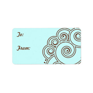 Choose any Color Charming Swirls Gift Labels