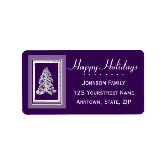 Choose any Color Christmas Tree Happy Holidays Address Label