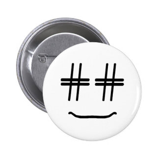 CHOOSE ANY COLOR # Hashtag Smiley Face Cute 6 Cm Round Badge