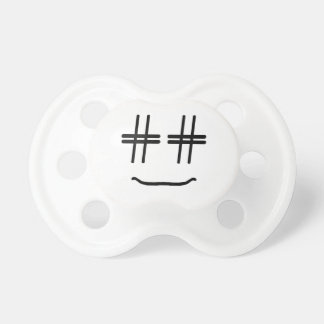 CHOOSE ANY COLOR # Hashtag Smiley Face Cute Baby Pacifiers
