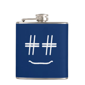 CHOOSE ANY COLOR # Hashtag Smiley Face Cute Hip Flask