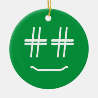 CHOOSE ANY COLOR # Hashtag Smiley Face Cute Round Ceramic Decoration
