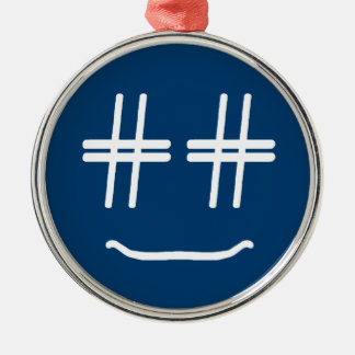 CHOOSE ANY COLOR # Hashtag Smiley Face Cute Silver-Colored Round Decoration