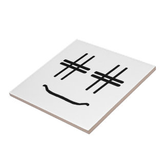 CHOOSE ANY COLOR # Hashtag Smiley Face Cute Small Square Tile