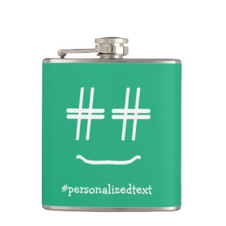 CHOOSE ANY COLOR # Hashtag Smiley Personalized Flasks