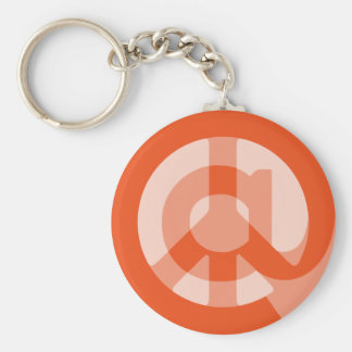 CHOOSE ANY CUSTOM COLOR @ Peace Sign Social Media Basic Round Button Key Ring