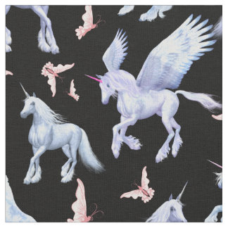 CHOOSE BACKGROUND COLOR Unicorns and Butterflies Fabric