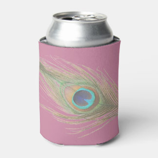 Choose Background Peacock Feather Can Cooler