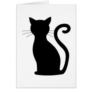 CHOOSE COLOR Black Cat Silhouette Cute Fun Girly Card