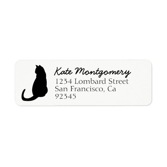 CHOOSE COLOR Black Cat Silhouette Cute Fun Girly Return Address Label