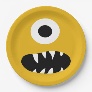Choose Color Kids Silly Monster Face Yellow Party Paper Plate