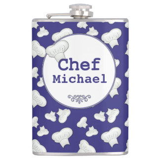 """Choose Custom """"ANY COLOR"""" Chef Hat Personalized Hip Flask"""