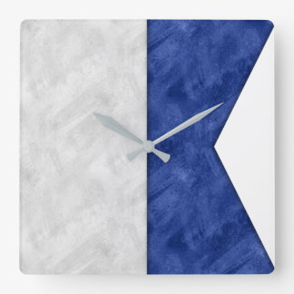 Choose from 26 Watercolor Nautical Maritime Flags Square Wall Clock