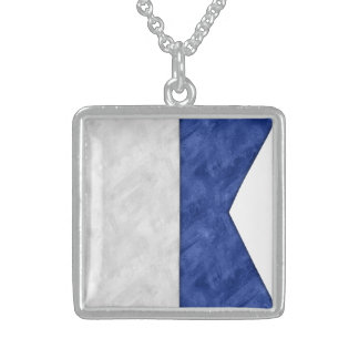Choose from 26 Watercolor Nautical Maritime Flags Sterling Silver Necklace