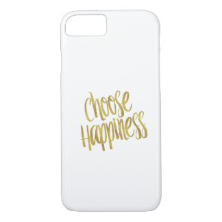 Choose Happiness Quote Faux Gold Foil Sparkly iPhone 8/7 Case