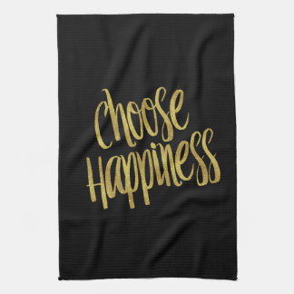 Choose Happiness Quote Faux Gold Foil Sparkly Tea Towel