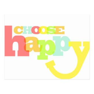 Choose happy quote postcard