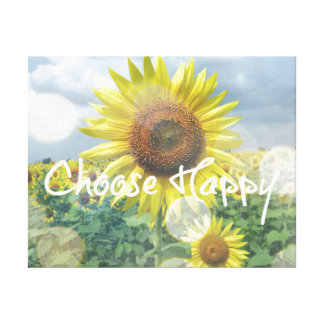 Choose Happy Quote with Sunflowers Canvas Print