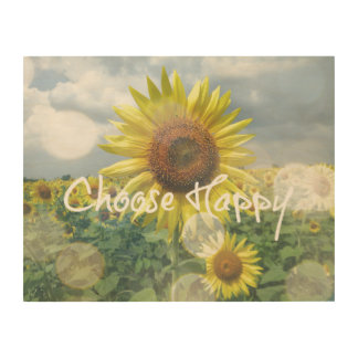 Choose Happy Quote with Sunflowers Wood Print