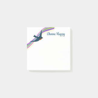 """""""Choose Happy"""" Rainbow and Bluebird Post-it Notes"""