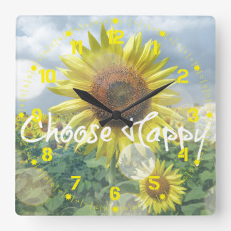 Choose Happy Sunflower Clock