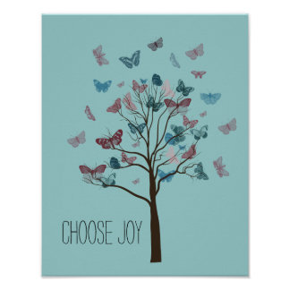 Choose Joy Butterflies Tree Poster