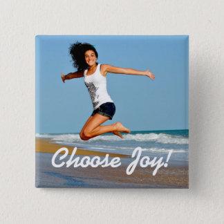 Choose Joy! Happy Woman On Beach Square Button