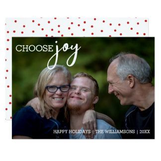 Choose Joy Modern Christmas Happy Holiday Photo Card