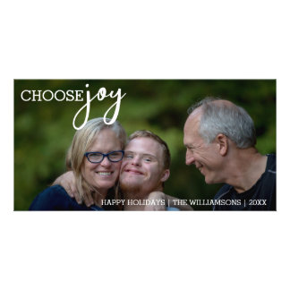 Choose Joy Simple Christmas Happy Holiday Photo Card