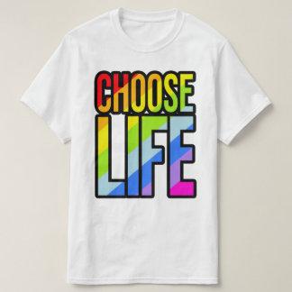 Choose life colorful rainbow text slogan t-shirt