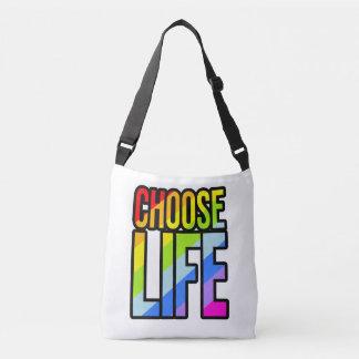 Choose life colorful text slogan tote bag
