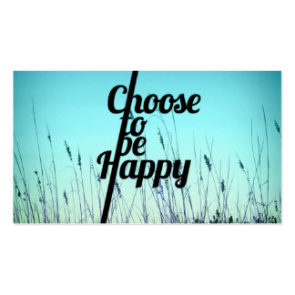 """""""Choose to be Happy"""" Typography in Teal Pack Of Standard Business Cards"""