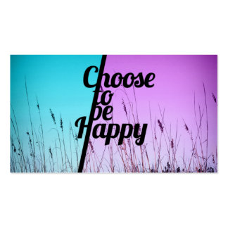 """""""Choose to be Happy"""" Typography in Teal & Purple Pack Of Standard Business Cards"""