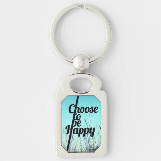 """""""Choose to be Happy"""" Typography in Teal Silver-Colored Rectangle Key Ring"""