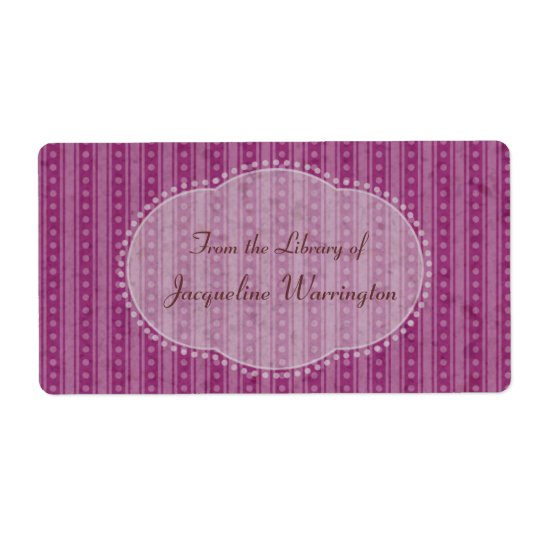 Choose Your Colour Dainty Stripes Book Plate Label Shipping Label