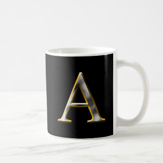 Choose Your Own Diamond Cut Metal Initial Coffee M Coffee Mug