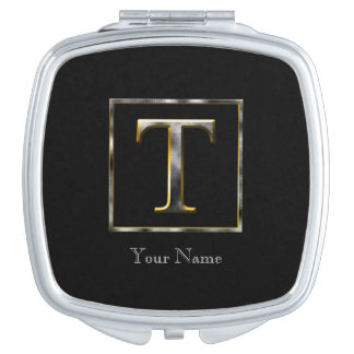 Choose Your Own Diamond Cut Metal Initial Compact Mirror For Makeup