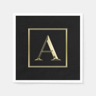 Choose Your Own Shiny Gold Monogram Napkin Disposable Serviette
