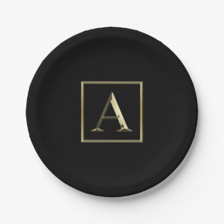 Choose Your Own Shiny Gold Monogram Plate