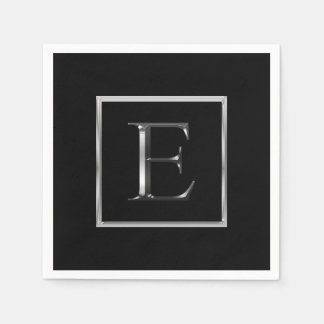 Choose Your Own Shiny Silver Monogram Napkin Disposable Napkin
