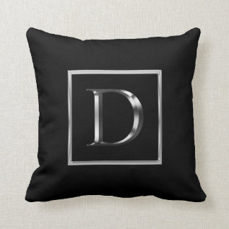 Choose Your Own Shiny Silver Monogram Pillow
