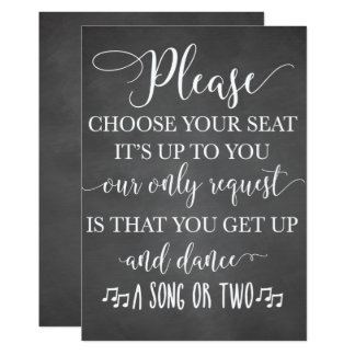 Choose Your Seat and Dance Wedding Sign Card